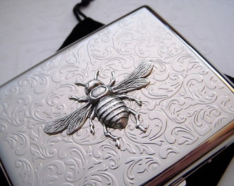 Big Cigarette Case Victorian Bee Silver Plated Metal Wallet Vintage Style Oversized Card Case Large Card Holder