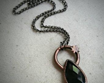Faceted Onyx Pendant - Copper & Gunmetal