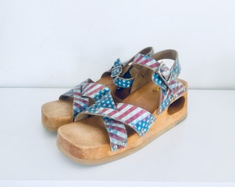 70s Clog Platform Sandals Wedge Wood Sandals Cut Out Heels Leather Size 5 6 35 36 Dr Scholls