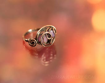 Copper Wire Wrap Rose Opal Czech Glass Boho Style Twin Beads Pink Ring Size 4.5 Swirly Copper Wire Wrap October Birthstone Statement Ring