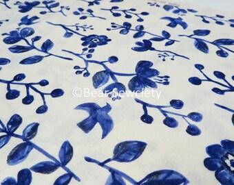 Flower Painting printed Double Gauze, Kokka Fabric, Japanese Fabric - 50cm