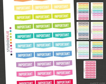 Important Planner Stickers  - Repositionable Matte Vinyl
