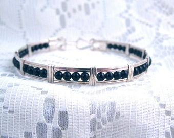 Onyx and silver beaded bracelet