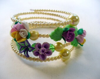 Pearl Memory Wire Bracelet, Flower Polymer Clay Bracelet, Wire Wrap Bracelet, Ivory Pearl, Blue, Purple, Green, Yellow, Mardi Gras