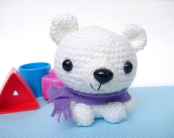 Burrr-y Nice White Amigurumi Polar Bear Crochet Plush Animal