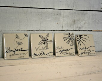 Bible Verse Coasters   Scripture Coasters   Religious Gift   Hand-drawn Coasters   Drink Coasters   Table Coasters
