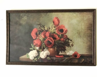 2018 SALE! Vintage R. Atkinson Fox's Poppies and Lilacs, 18 by 30 inch Print, Original frame/w glass, Signature in bottom right corner,