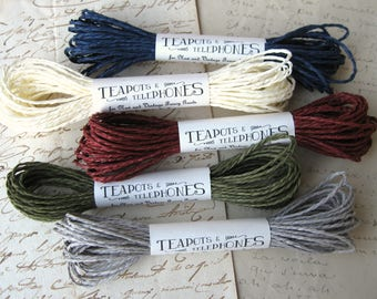New Twisted Paper Cord Twine Navy Cream Burgundy Olive or Gray (10 yards)