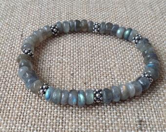 8mm Labradorite rondelle stretch bracelet with sterling silver bali beads