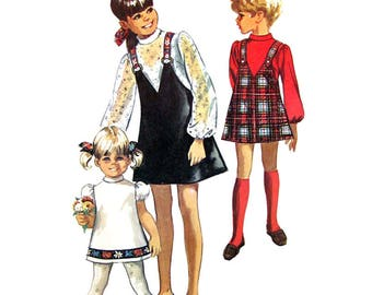 Girls Jumper Dress Pattern Simplicity 8529 Puff Sleeve Suspender Skirt Size 8 Vintage Sewing Pattern
