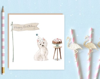 West Highland Terrier Birthday Card - dog card - westie card - birthday card - west highland terrier - westie - ideal gift for dog lovers
