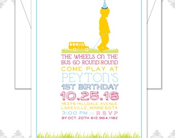 School Bus Invite, School Bus Party, Bus Birthday Invite, child and bus Invitation, modern school bus invite, girl or boy silhouette inv