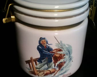 1984 The Seafarers by Norman Rockwell, Braving The Storm, Norman Rockwell Museum, Rockwell Print Jar Canister