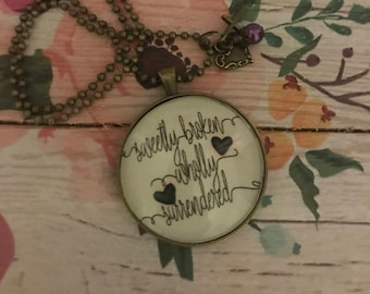 sweetly broken wholly surrendered bronze necklace