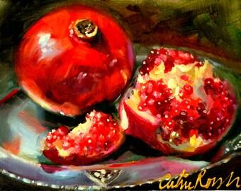 Art Print of GRANATE OP SILWER - pomegranates ,silver plate, still life