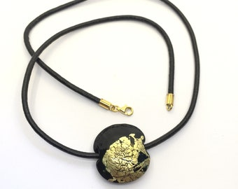 Necklace black/ Necklace lentil bead leather / Necklace silver 925  gold