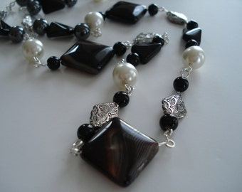 Onyx Long Necklace. Wire Wrapped Necklace, Black and White Necklace