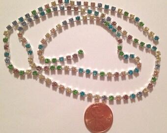 SS12 Light Multi (Multi Pastels) 3.00 - 3.20 mm Crystal Rhinestone Banding Chain - High Quality Czech Stones - Radiant!