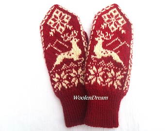 Hand knit wool mittens,warm winter glove, Scandinavian snowflake mittens,wool glove,Nordic deer arm warmers,Norwegian Christmas gift for Her