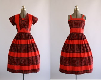 Vintage 1950s Dress / 50s Cotton Dress / Betty Barclay Red and Black Eyelet Print Dress w/ Matching Bolero XS