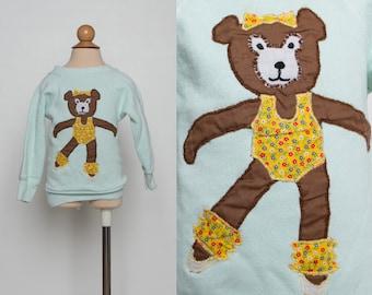 vintage 80s girl's sweatshirt mint green dancing bear top