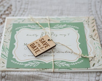 Wooden Invitation Tags - Save Our Date