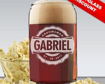 Personalized Beer Glass Can, Beer Can Glasses, Groomsmen Beer Gifts, Groomsman Beer Glass, Engraved Beer Glasses Can, Monogrammed Beer Glass