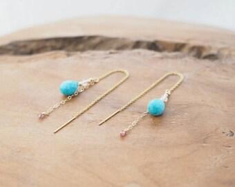 Real Turquoise Earrings, Swarovski Crystal Earrings, Tourmaline Earrings, Turquoise Threader Earrings, December Birthstone Earrings