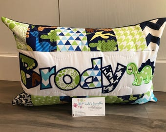 Navy and lime Dinosaur personalized pillow case, 12x18 inches
