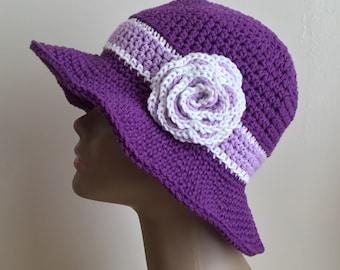Women's crochet  sun hat, summer / spring, beach hat, brim, COTTON, Purple, lavender, white, removable flower,  Ready to ship.  S91