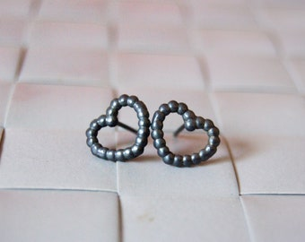 Small Heart earrings Black oxidised silver earrings Geometric earrings Graduation gift Wedding jewely Dainty earrings Stud earrings