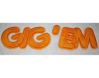 Instant Download Gig'em Embroidery Machine Applique Design-634