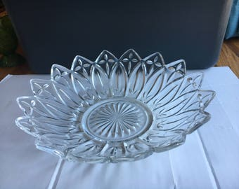 Federal Glass Clear Petal Serving Bowl