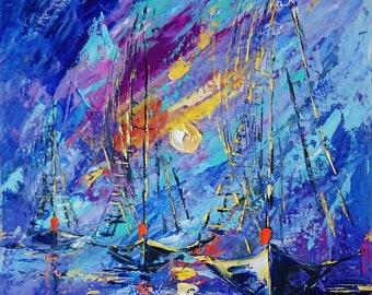 Blue flying; Original seascape oil painting; sailing ships painting; ships painting; sailingboats oil art; seascape impressionism