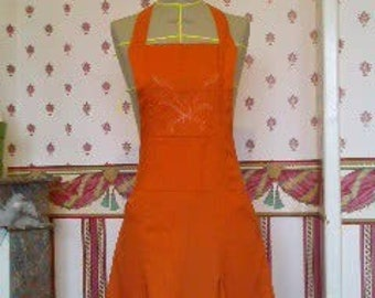 Earth orange linen apron dress