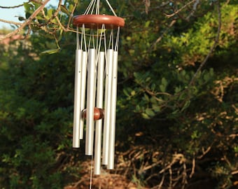 Wind chime, Metal windchimes, Chakra wind chimes, Spiritual gift, Garden decoration, Silver Wind Chimes, Best dad gift, Outdoor Decoration