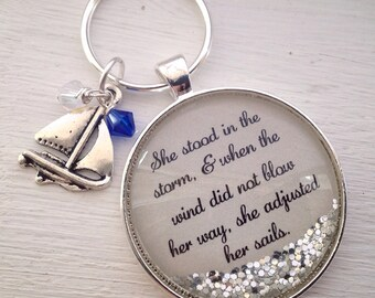 She stood in the storm message keychain with sailboat charm, personalized keychain, quote keychain, sailboat keychain