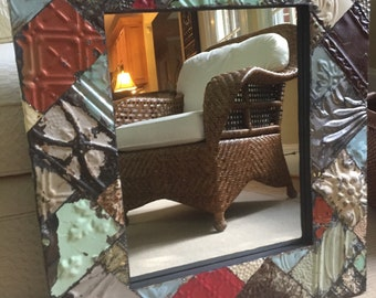 Ceiling Tin Tile Patchwork Mirror 26x30