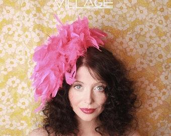 Bright neon pink feather boa hat fascinator retro vintage 60's style