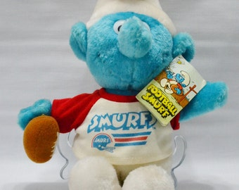 Football Smurf Stuffed Toy - Plush Doll - Original Tag - Smurf Toy - 1981