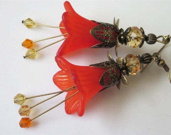 Fall Flower Earrings, Orange Flower Earrings, Blood Orange, Lily Blossom, Antiqued Brass Filigree Earrings, Fall Jewelry