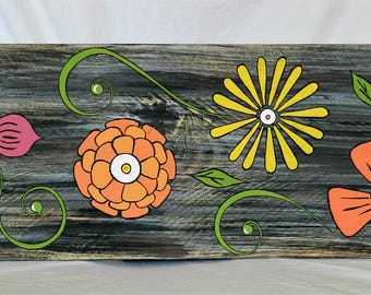 Painted Flowers on Wood, Wall Art, Porch Art, Bright Flowers, Garden Art, Home and Living, Home Decor