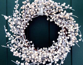 Lovely White Berry Wreath