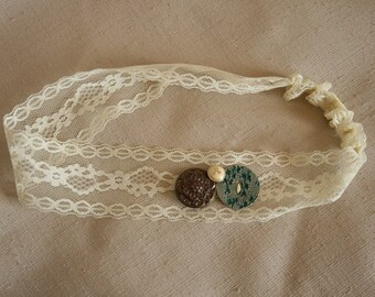 Cream Vintage Button & Floral Lace Headband - Green Vines, Brassy Flower, and Gold