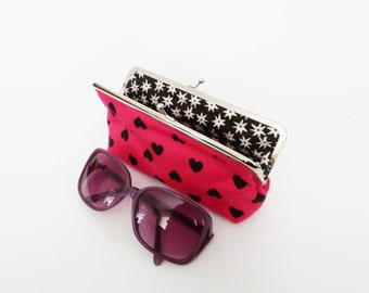 Glasses case, heart fabric, pink and black cotton heart fabric, cotton pouch
