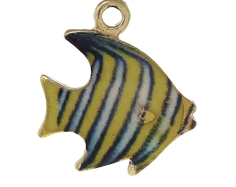x 1 pendant 17 mm gold fish charm and yellow and blue enamel.