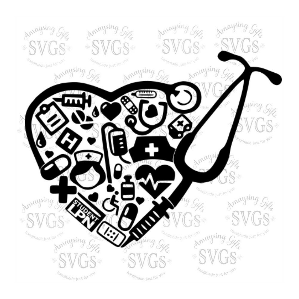 SVG Student LPN Collage DXF Nurse svg Medical Lpn