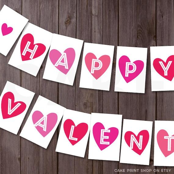 happy Valentines day Banner valentines printable valentines Happy Valentines Day Banner Printable