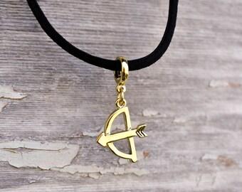 Bow And Arrow Necklace, Bow And Arrow Charm, Hunting Jewelry, Charm Choker, Black Choker, Archery Necklace, Tribal Jewelry, Boho Choker