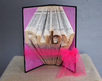 Baby Girl Gift, Baby Boy Gift, Custom Name, Folded Book Art